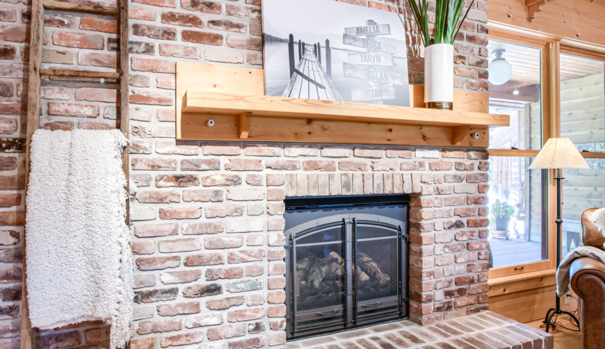 Cabin fireplace, lake home fireplace