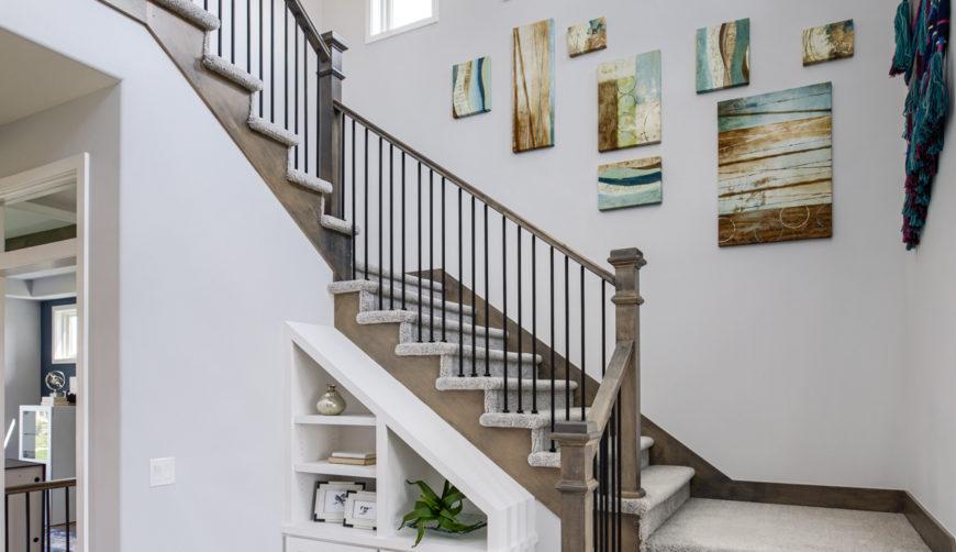 2 story staircase, white entry, modern windows