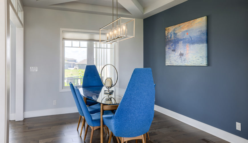 Modern light fixtures, modern dining room, white and blue dining room