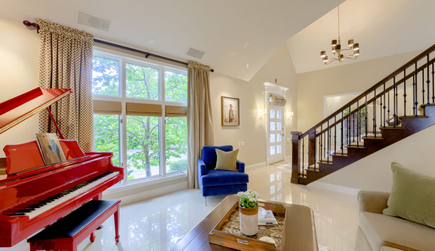 luxurious porcelain tile flooring in living room