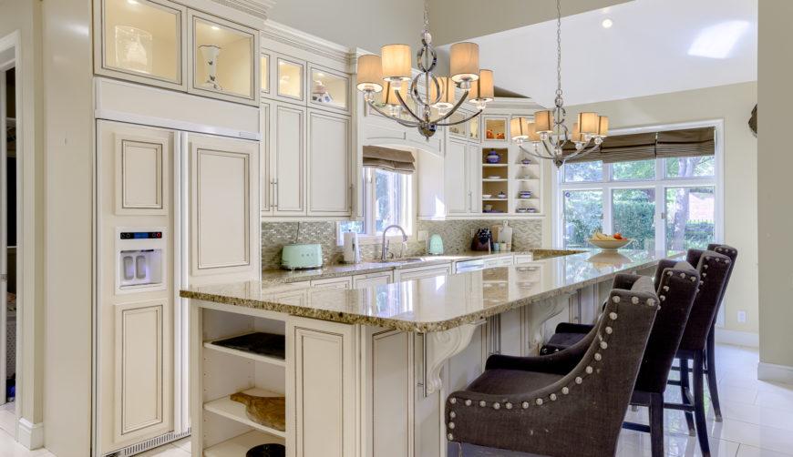 dream kitchen, granite countertops, porcelain floor, white cabinets