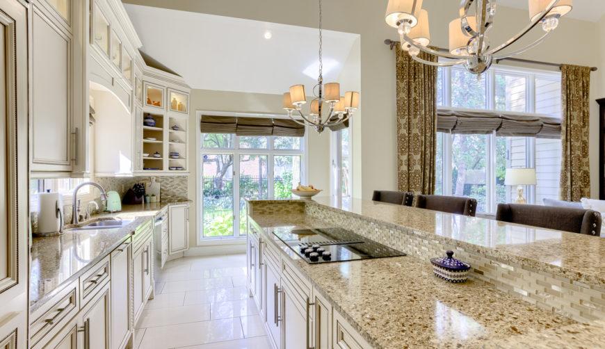 luxury kitchen, luxury white cabinets, granite counters