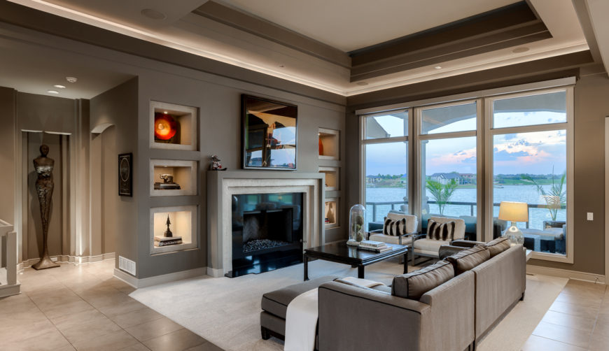 Coffered ceilings, oversized windows