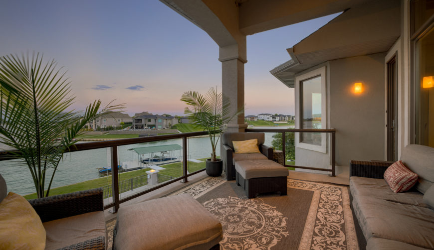 Covered deck with beautiful lake view