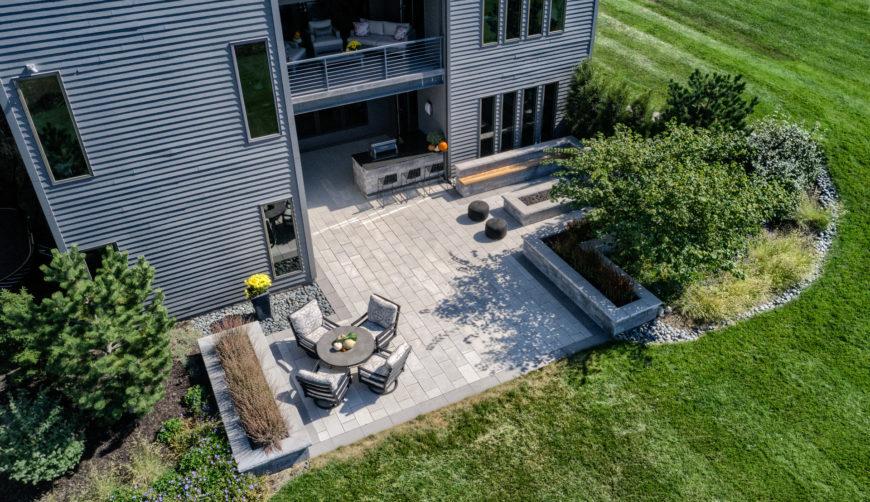 Luxury paver backyard patio